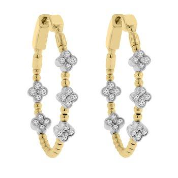 1/2ct tw Diamond Hoop Earrings in 14K White & Yellow Gold