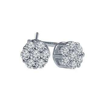 1/4ct tw Diamond Bouquet Earrings in 14K White Gold