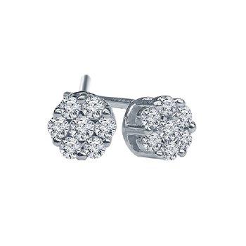 1/4ct tw Diamond Bouquet Earrings in 14K White Gold