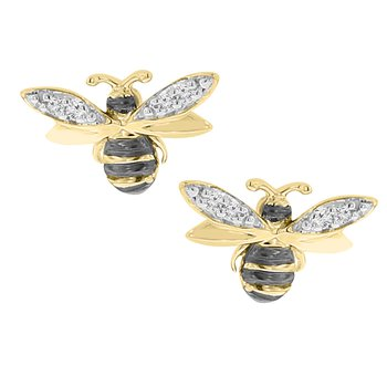 .02ct tw Diamond Garden District Collection Bee Earrings in 10K Yellow Gold & Black Rhodium