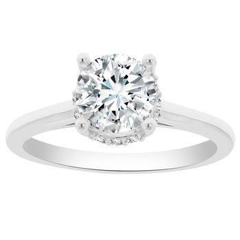 1/10ct tw Diamond Solitaire Engagement Ring Setting in 14K White Gold