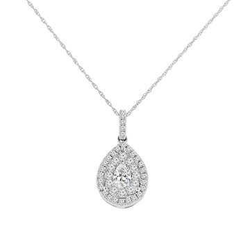3/4ct tw Diamond Halo Pendant in 14K White Gold