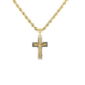 Diamond Cut Crucifix in 14K White & Yellow Gold