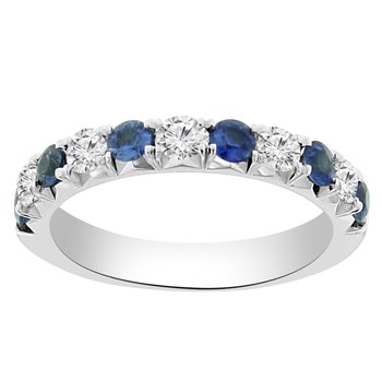 1 1/8ct tw Diamond & Blue Sapphire Stackable Ring in 14K White Gold