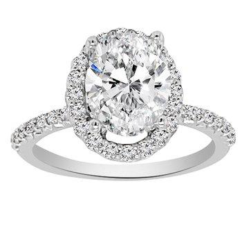 2 1/3ct tw NewBorn Lab Created Diamond Halo Engagement Ring in 14K White GoldLadies NewBorn lab created diamond halo engagement ring featuring a 2ct oval cut lab created diamond center accented by 36 round cut lab created diamonds in 14K white gold. 2 1/3