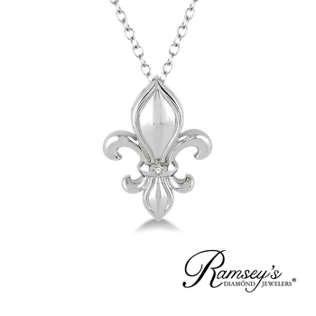 .01ct tw Diamond Fleur de Lis Necklace in Sterling Silver