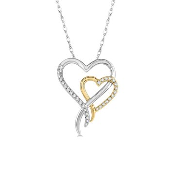 1/8ct tw Diamond Heart Necklace in 10K White & Yellow Gold