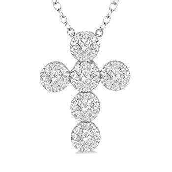3/8ct tw Diamond Thousand Points of Light Cross Necklace in 14K White Gold