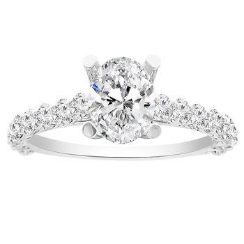 7/8ct tw Diamond Engagement Ring Setting in 14K White Gold