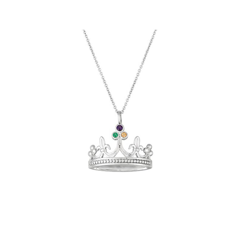Mardi Gras Crown Necklace in Sterling Silver