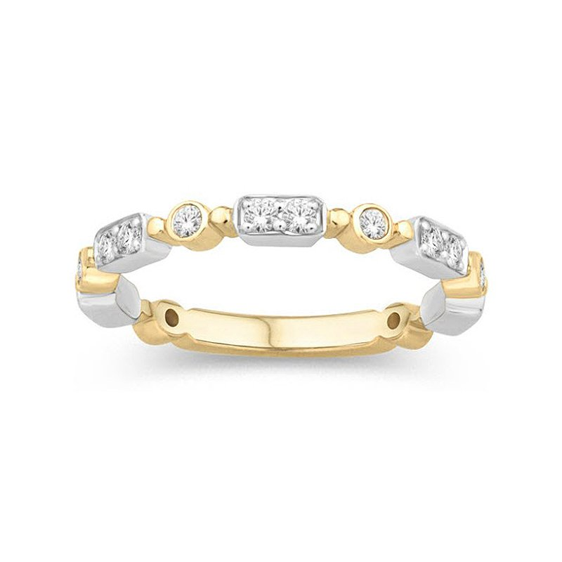 1/5cy yw Diamond Stackable Ring in 14K White & Yellow Gold