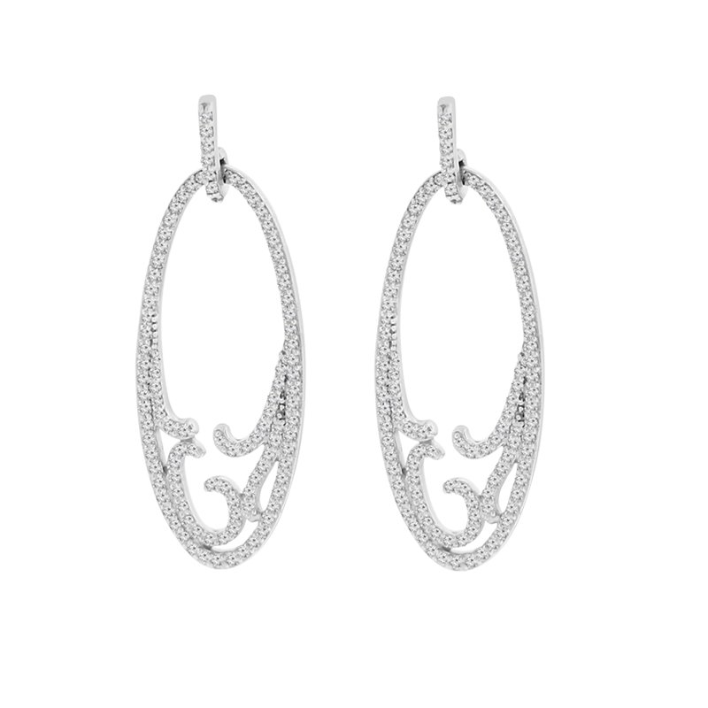 1ct tw Diamond Fashion Earrings in Sterling Silver & Platinum