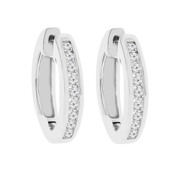 1/3ct tw Diamond Hoop Earrings in Sterlign Silver