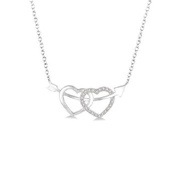 .05ct tw Diamond Heart and Arrow Necklace in Sterling Silver