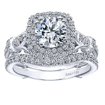 1ct tw Diamond Halo Engagement Ring Setting in 18K White Gold