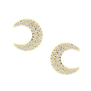1/5ct tw Diamond Moon Stud Earrings in 10K Yellow Gold