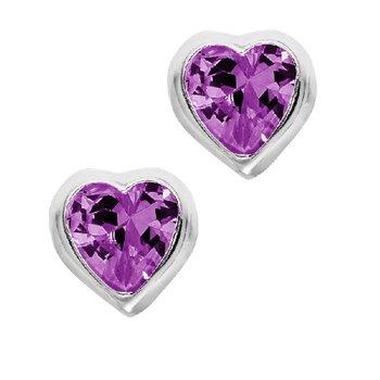 February Birthstone Heart Earrings in Sterling Silver