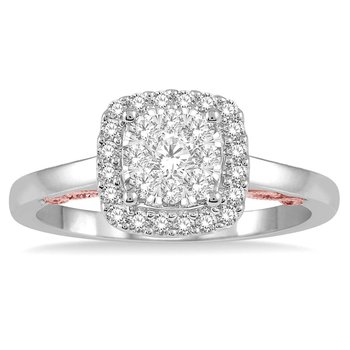1/3ct tw Diamond Thousand Points of Light Engagement Ring in 14K White & Rose Gold
