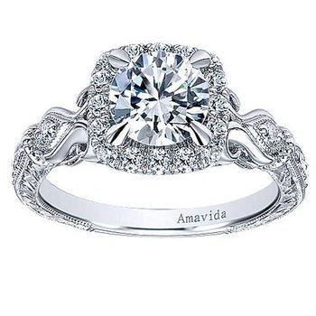 1 1/3ct tw NewBorn Lab Created Diamond Halo Engagement Ring in 18K White Gold