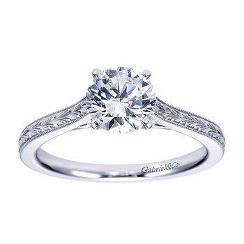 Solitaire Engagement Ring Setting in 14K white gold.