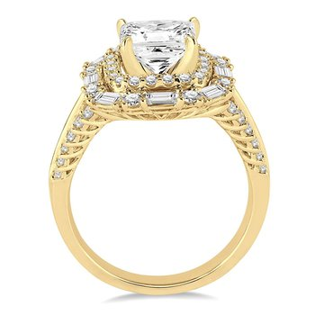 1 1/8ct tw Diamond Halo Engagement Ring Setting in 14K Yellow Gold
