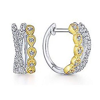 1/3ct tw Diamond Huggie Hoop Earrings in 14K White & Yellow Gold