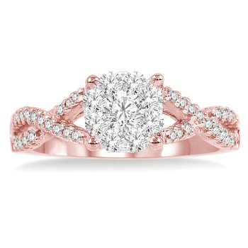 3/8ct tw Diamond Thousand Points of Light Engagement Ring in 14K White & Rose Gold