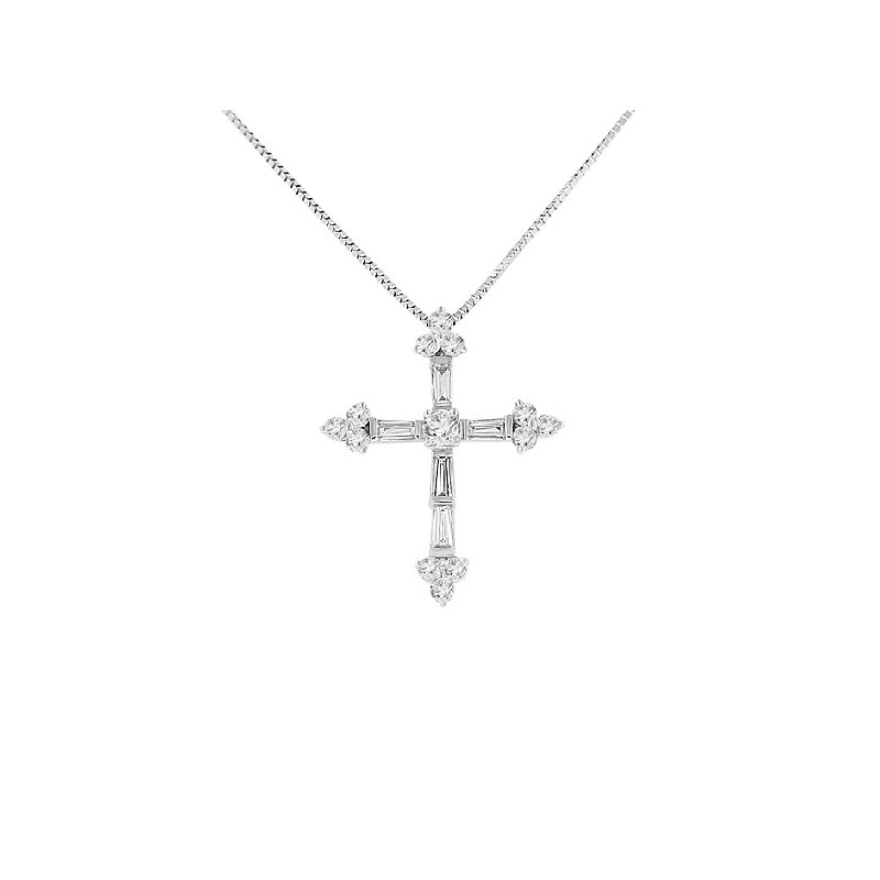 5/8ct tw Diamond Cross Necklace in 18K & 14K White Gold