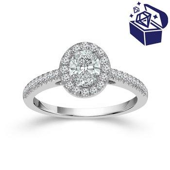 Treasure Hunt Value 3/4ct tw Diamond Halo Engagement Ring in 14K White Gold