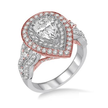 1 1/4ct tw Diamond Halo Engagement Ring Setting in 14K White & Rose Gold