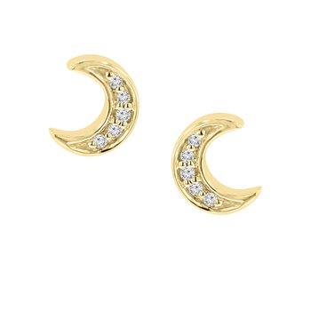 .03ct tw Diamond Moon Stud Earrings in 10K Yellow Gold