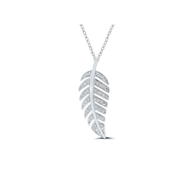 1/10ct tw Diamond Leaf Necklace in Sterling Silver