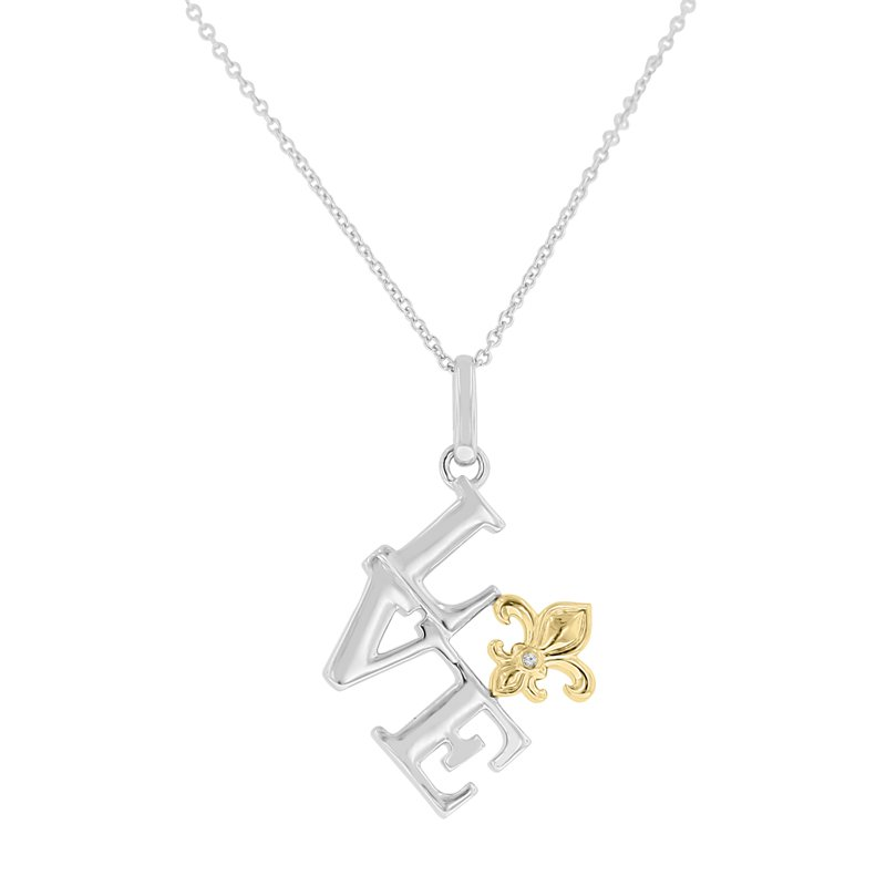 .01ct tw Diamond LOVE & Fleur De Lis Necklace in Sterling Silver