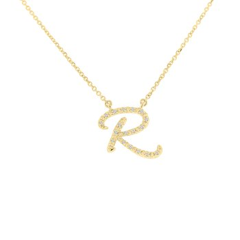 .04ct tw NewBorn Lab Created Diamond Love Letter Necklace in 10K Yellow Gold