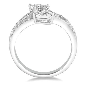 1/14ct tw Diamond Me & You Two Stone Ring in Sterling Silver