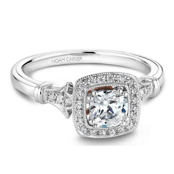 1/8ct tw Diamond Halo Engagement Ring Setting in 14K White & Rose  Gold