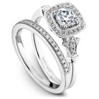 1 1/8ct tw Diamond Halo Engagement Ring in 14K White & Rose  Gold