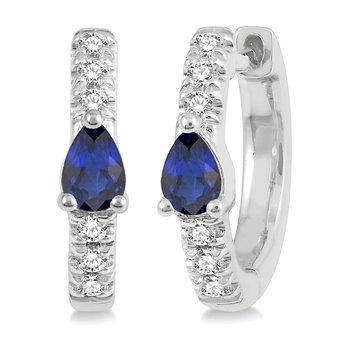 1/10ct tw Diamond & Blue Sapphire Hoop Earrings in 10K White Gold