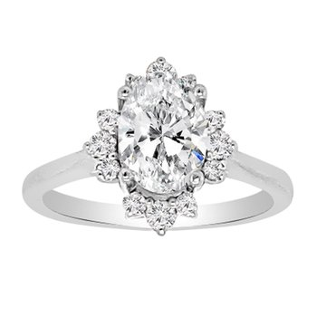 1 1/4ct tw NewBorn Lab Created Diamond Halo Engagement Ring in 14K White Gold