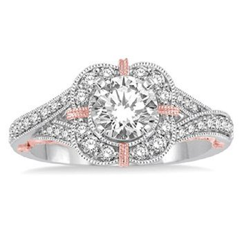 1/3ct tw Diamond Halo Engagement Ring Setting in 14K White and Rose Gold
