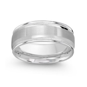 8mm Wedding Ring in 14K White Gold