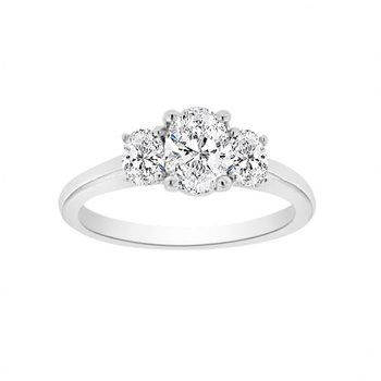 1 1/4ct tw Diamond Three Stone Engagement Ring in 19K White Gold
