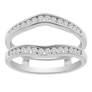 1/3ct tw Diamond Wedding Ring Guard Wrap in 14K White Gold