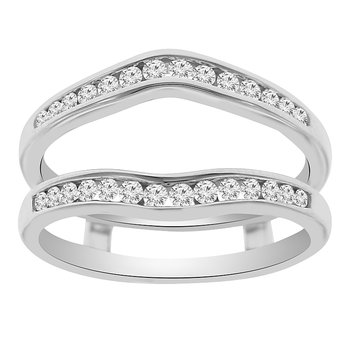 1/3ct tw Diamond Wedding Ring Guard Wrap in 14K White Gold