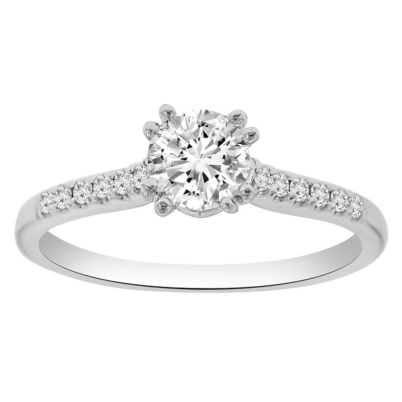 1/10ct tw Diamond Engagement Ring Setting in 18K White Gold