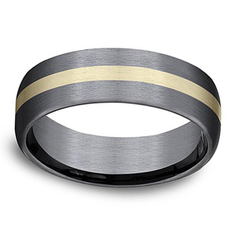 6.5mm Wedding Ring in 14K Yellow Gold & Grey Tantalum