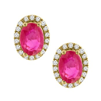 2ct tw Diamond & Ruby Earrings in 14K Yellow Gold