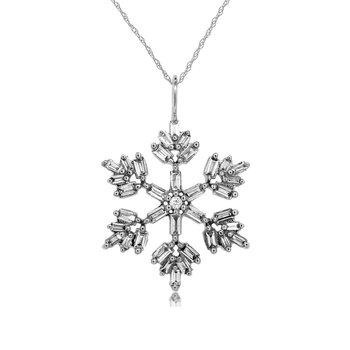 3/8ct tw Diamond Snowflake Necklace in 14K White Gold