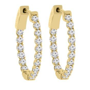 1 1/2ct tw Diamond Hoop Earrings in 14K Yellow Gold