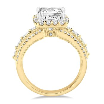 7/8ct tw Diamond Halo Engagement Ring Setting in 14K White & Yellow Gold